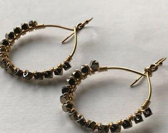 Hoop Earrings, Hematite Earrings, Gold Hoop Earrings, Beaded Hoop Earrings