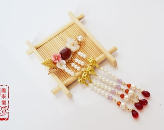 Flyin Chinese flower hair pin in red agete, filigree,pearl, Japanese rice beads, pearl tassel, Asian Chinese hair stick, hair clip
