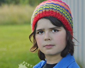 Boys Striped Beanie, Kids Winter Hat, Boys Colorful Slouch, Crochet Mini Slouch, Boys Slouchy Beanie, Boys Winter Hat, Striped Winter Hat