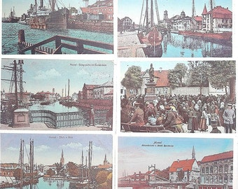 Klaipeda town post-soviet 1992 printed photos set // Memel postcards set vintage