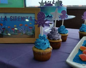 Sea animal Toppers-The Little Mermaid topper-toppers for cupcakes-topper's-wedding topper-toppers under the sea