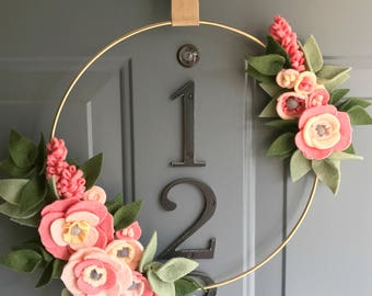 Felt Brass Hoop Floral Wreath Handmade Door Wall Decoration - Coral 12in