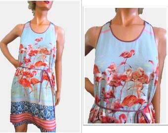 Summer Shift Dress, Flamingo Dress Women, Aqua and Pink Flamingo Print, Dream Daily, Sleeveless Chemise, Tie Belt, size Small