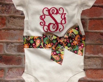 Baby Girl Monogrammed Bodysuit; Newborn Layette; gift idea for newborn; baby shower gift; newborn pictures; take home outfit; ribbon and bow