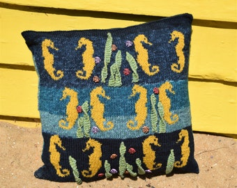 Knitting Pattern for a Sea Horse Cushion, Pillow Knitting Pattern with Sea Horses, Knitted Seaside, Knitted Underwater, Pdf download