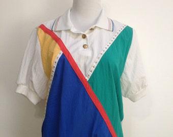 Vintage Primary Color Sportswear Blouse
