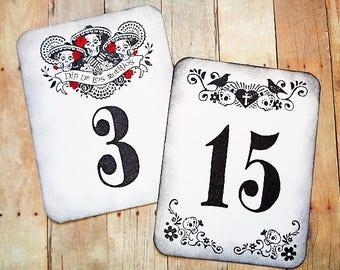 Day of the Dead Wedding Table Number Cards Dia de los Muertos Party Celebration Sugar Skulls Skeletons Bride Groom Crows Gothic Halloween