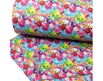 Shopkins, Pattern, Faux Leatherette Sheet, Size 8 x 13in, Synthetic, Leather, Pleather, Craft,  Princess, Hairbow