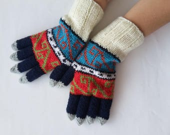 winter gloves, knit men gloves, cool mittens, geometric men gloves, gift for men, warm gloves, colorful gloves, knit mittens, fathers day