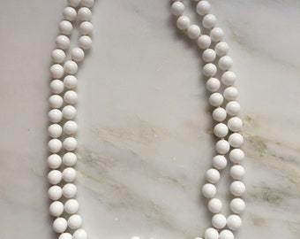 Vintage Japan milk glass beaded double strand necklace
