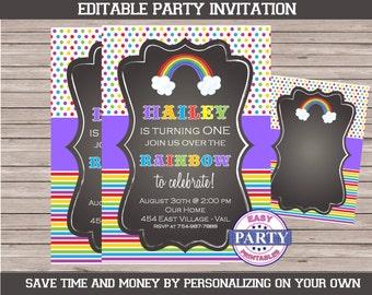 Rainbow Editable Invitation, chalkboard, colorfull, Create own invitation, Any Occasion, Rainbow birthday, Rainbow shower