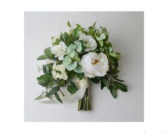 Wedding Bouquet, Boho Bouquet, Bridal Bouquet, Greenery Bouquet, Silk Flowers, Artificial Bouquet, Wedding Flowers, Green, White, Cream