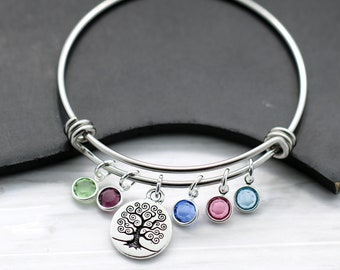 Mom Family Tree Bracelet - Bangle Bracelet for Mom - Kid's Birthstones - Gift for Mom - Mother's Day Bracelet - Family Tree Birthstone