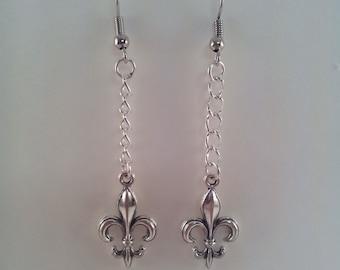 Silver or Bronze Fleur De Lis Dangle Wire Earrings
