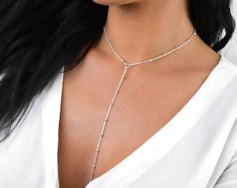 CRYSTAL Sterling Silver Delicate Silver Lariat Satellite Drop Chain Necklace Y Choker
