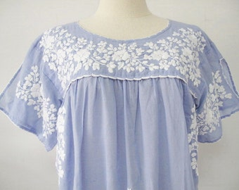 Mexican Embroidered Blouse Cotton Top, Peasant Top, Oaxacan Blouse, Boho Blouse, Hippie Top