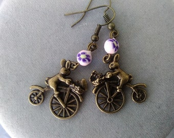 Easter Bunny Riding Bicycle Earrings