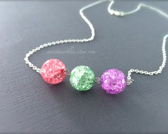 Pastel Crackle Bead Necklace. Round Glass Beads. Pink. Purple. Green. Silver Chain. Dainty. Everyday Necklace. Simple. Minimalist. Under 15.