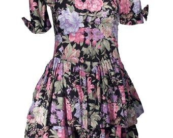 Vintage Dark Floral Peplum Scalloped Neckline Dress