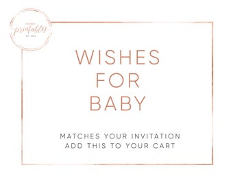 Wishes for Baby Insert, Baby Wishes, Baby Shower Invitations, Printable Baby Shower Invite, Baby Shower, Wishes for Baby, Digital Invitation