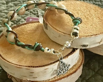 Braided and Knotted Leather with Beads Bracelet
