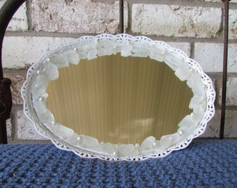 Vintage Mirror/Vanity Tray with Sea Glass