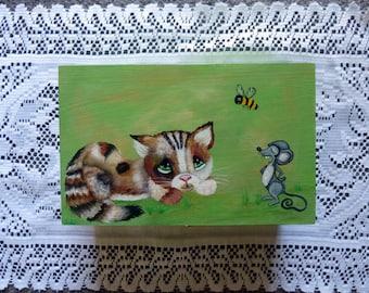 Cat and Mouse, Whimsical art, Love letter Box, Desk Art, Stash Box, Office Decor, Receipt Box, Wooden box, Keepsake box