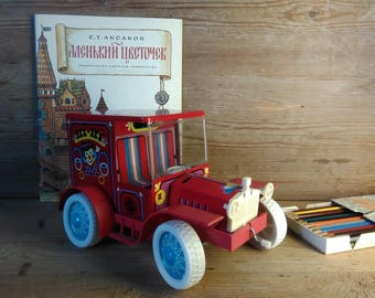 Vintage Retro car Tin toy Soviet circus car Hi-Hi,red made in USSR Soviet Old circus car