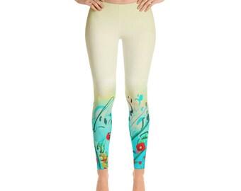 Poppies leggings gradient, print leggings, ombre leggings, yogagear, gift for her, stretchy leggings, homewear, soft workout leggings