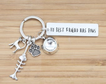 hand stamped keychain   my best friend has paws - cat edition