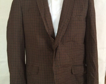 1960s Plaid Blazer - Mens Earth Tone Gingham Check Sport Coat from Shelby size Medium 43R