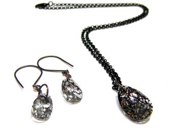 ON SALE TODAY Crystal Earrings Pendant Set Swarovski Black Patina Jewelry Set Crystal Jewelry Set Valentine gifts gift for her trending now