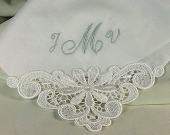 Monogram Wedding Hankerchief Personalized Embroidered Cotton Bridal Hanky for Wedding Day 9301C