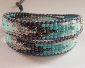 Turquoise and Silver Seed Bead Wrap Bracelet, Aztec Bracelet, Turquoise Bracelet, Silver and Turquoise Wrap Bracelet Choker Necklace