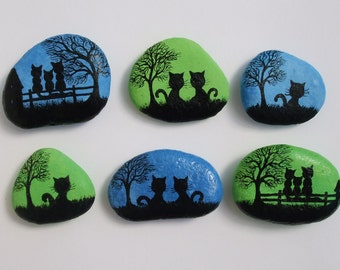 Painted Stone, Cat Magnet, Rock Painting, Cat Art, Hand Painted Pebble, Kitty Magnet, Miniature Art, Black Cat Painting, Rock Art Silhouette