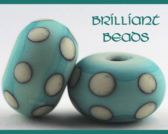 Patina...Tumbled Turquoise & Ivory Handmade Lampwork Glass Bead Pair, Made To Order Beads