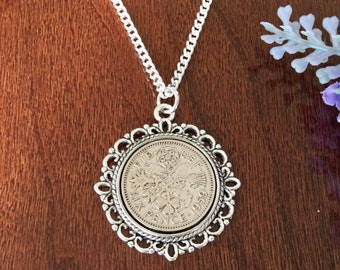 daughter in law gifts for birthday, good luck best friend gift, sixpence necklace, birthday gift for mother in law ideas, meaningful gift