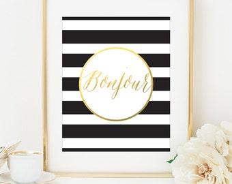 BONJOUR Faux Gold Foil Art Print - Black & White Stripe - Gilded Art - Imitation Gold Leaf - Paris Art - Home Office Decor - Minimalist Art