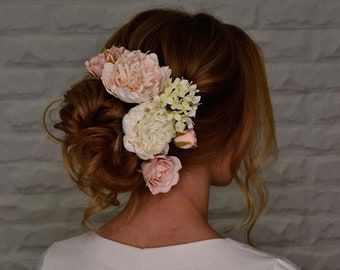 Set of 6 floral pins, wedding hair accessoire, foam flowers, summer wedding hairstyle