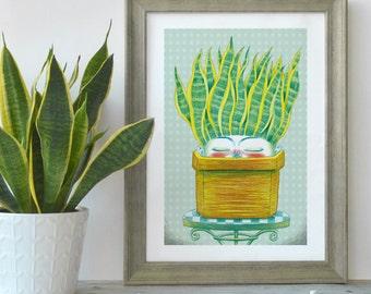 Printed illustration sansevieria plant, Succulent art print illustration, Gift for her, Sansevieria digital print, Cactus art print