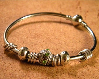 Bangle style bracelet pandor @ 66 mm - silver-CHA-B-02-2