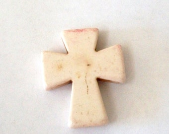 Cross Pendant Howlite Medium Cream Colored Stone Jewelry, Backpack, Purse, Keychain, Craft Supply