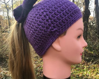 Dark on Light Purple Women's Messy Bun Hat
