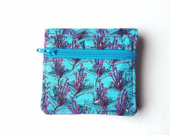 Mini Wallet, Get Carded, Small Bifold Wallet, Womens Wallet, Blue and Pink Wallet, Card Holder, Small Wallet, Mini Bifold, Floral Wallet
