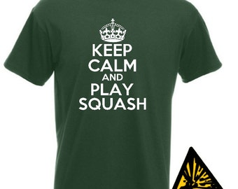 Keep Calm And Play Squash T-Shirt Joke Funny Tshirt Tee Shirt Gift