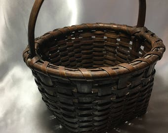 Splint Gathering Basket; primitive, farmhouse, basket, splint basket,