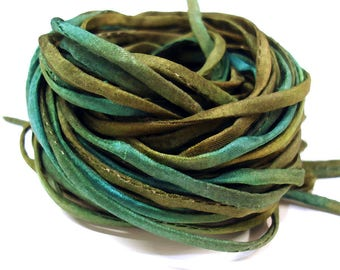 """5PC. BLACK FOREST 2MM Hand Dyed Silk Jewelry Cord//5PC Hand Dyed Silk Cording 1/8"""" X 36""""//Hand Dyed Silk Jewelry Bracelet/Necklace Cording"""