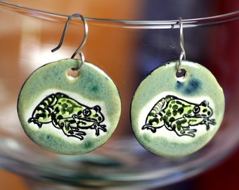 Frog Ceramic Earrings