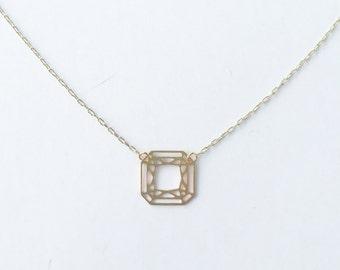 Square Cut Gem Necklace   ATL-N-107