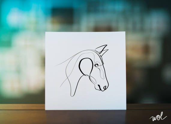 Single Line Art Print : Horse art print gifts equine one line gift